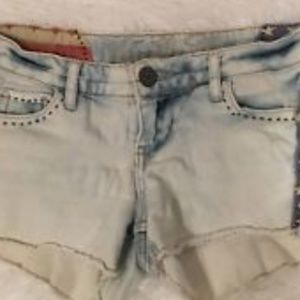 Girls Vanilla Star White Denim Shorts star Accents